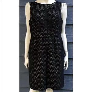Ann Taylor LOFT Women Dress 12 Black Nude Crochet